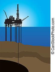 emelvény, vektor, olaj, tenger