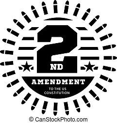 emenda, posse, weapons., constituição, nós, segundo, vetorial, ilustração, licença, branca