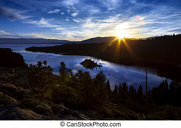 Emerald Bay, Lake Tahoe, California at sunrise.