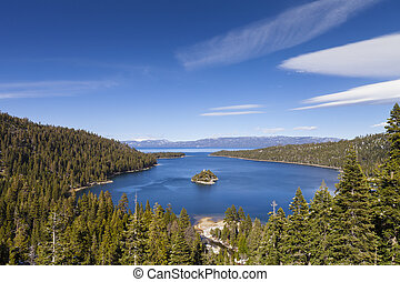 Emerald Bay, Lake Tahoe, California. Daytime shot with blue sky.