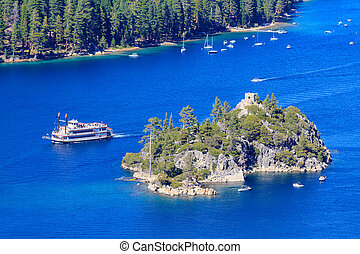 Emerald Bay Paddle Steamer and Fannette Island, Lake Tahoe, Cali