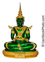 Emerald buddha image in clothes for summer season