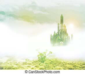 emerald city in mist 2 - emerald city rising out of mist in...