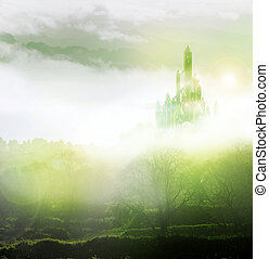 emerald city in mist - emerald city rising out of mist