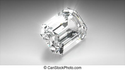 Emerald Cut Diamond - Emerald cut diamond on gray background...