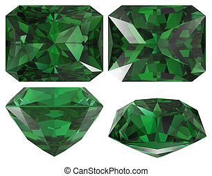 Emerald cut isolated