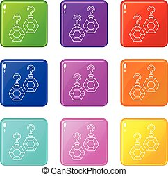Emerald earrings icons set 9 color collection