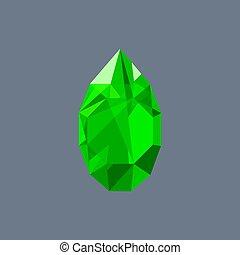 Emerald gem shining logo vector drop shaped