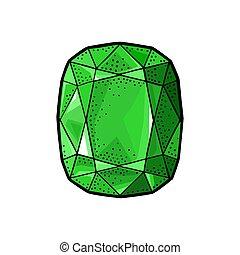 Emerald gem stone. Vintage color vector engraving illustration