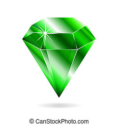 Emerald gemstone. Isolated object on a white background,...