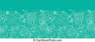 Emerald green floral lineart horizontal seamless pattern background