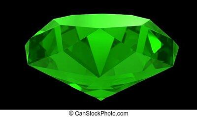 Emerald green gemstone gem stone spinning wedding background...