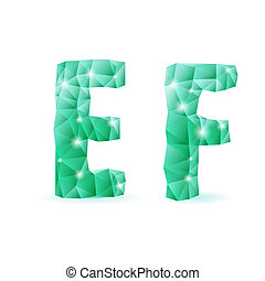 Emerald green polygonal font - Shiny emerald green polygonal...