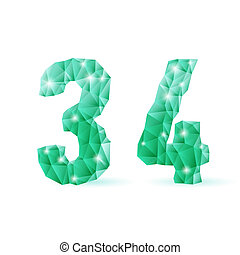 Emerald green polygonal font