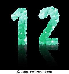 Emerald green polygonal font
