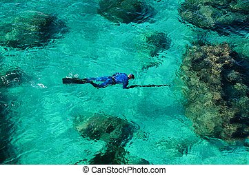 Emerald green sea water diver spearfishing - Emerald green ...