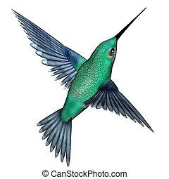 Emerald hummingbird - 3D render - Emerald hummingbird flying...
