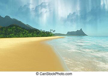EMERALD ISLE - A beautiful tropical island with palm trees.