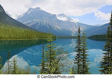 Emerald lake at morning spring time.