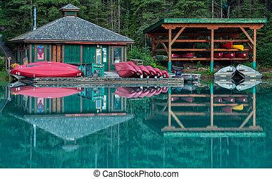 Emerald Lake Canoe Rental Reflection