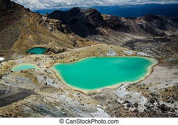 Emerald Lakes, Tongariro National Park, New Zealand. Tongariro track, north island.
