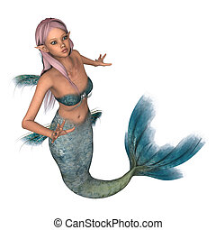 Emerald Mermaid - 3D digital render of a beautiful fairytale...