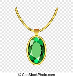 Emerald necklace icon, realistic style