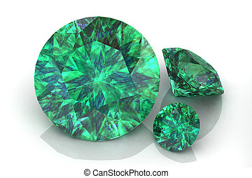 emerald on white background.3D