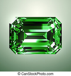 Emerald Over Green Background. Realistic 3D Model.