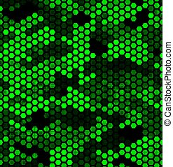 Emerald pattern of triangles, hexagons, squares. Lime, green, black colors