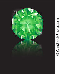 Emerald reflected - A brilliant cut emeral isolated on black...