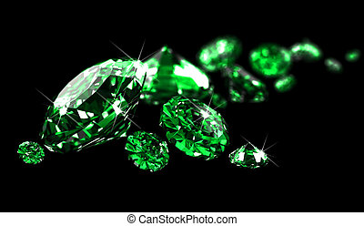 Emeralds on black surface made in 3D