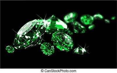Emeralds on black surface (vector) - Emeralds on black ...