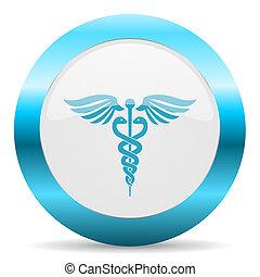 emergência, azul, lustroso, ícone