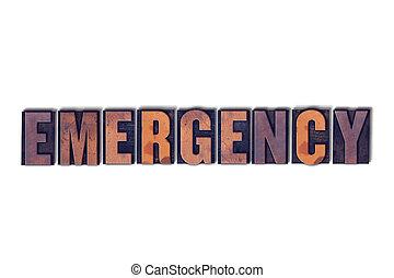 emergência, conceito, isolado, letterpress, palavra