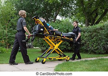 emergência, equipe médica