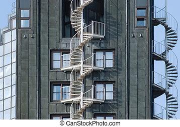 emergência, escada salva-vidas, staircases, ligado, um, predios, exterior., urbano, arquitetura, em, hamburgo, alemanha