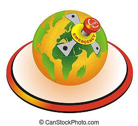 emergência, globo, mundo, parar tecla