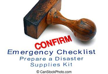 emergência, lista de verificação