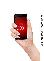 emergência, móvel,  999, Número, mão, telefone, segurando