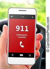 emergência, móvel,  car, Número, mão, telefone, segurando,  911