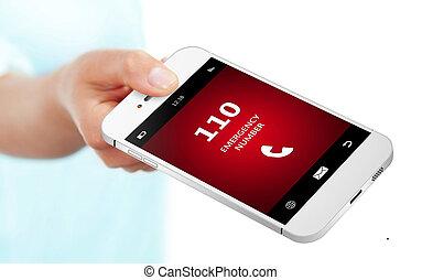 emergência, móvel, Número, mão, telefone,  110, segurando