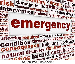 emergência, mensagem, experiência conceitual