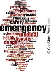 emergência, palavra, cloud.eps