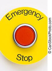 emergência, parada, interruptor