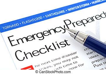 emergência, preparedness, lista de verificação