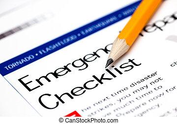 emergência, preparedness, lista de verificação, com, amarela, pencil.