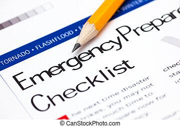 emergência, preparedness, lista de verificação, com, lápis