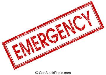 emergência, quadrado vermelho, selo, isolado, branco, fundo