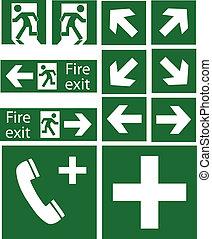 emergência, sinais, verde